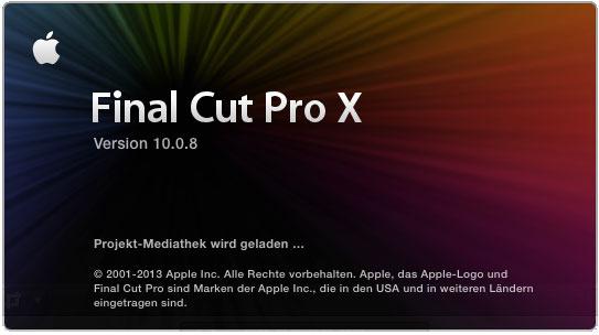 Bildschirmaufnahme Final Cut Pro 10.0.8