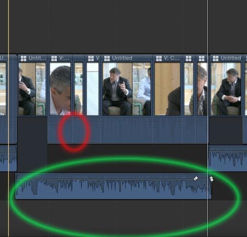 Tonaussetzer beim Schneiden von Multicam-Clips.